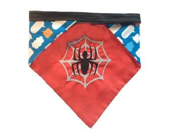 Spiderman-inspired  reversible pet bandana