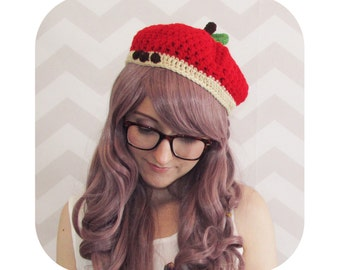 Sweet & chic apple beret - choose any color! - shown in true red