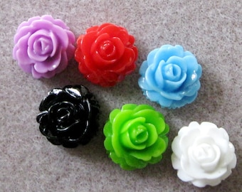 Small Resin Carnation Flower Cabochon Mix 14mm Choose Your Colors 940
