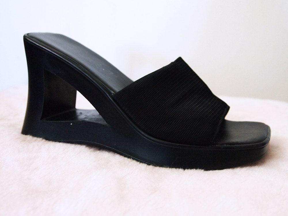 WEDGE // Vintage 90s Platform Sandals Slip On Black Mules Cut