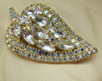 Vintage 1960's Rhinestone Brooch Leaf Pin All Pronged Faceted Glass Crystals with Aurora Borealis Rounds