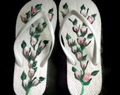 White Ladies Size Medium 7-8 Shabby Chic Pink and White Rosebud Flip Flops Hand Painted Free Shipping