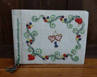 Vintage Linen Covered Embroidered Scrap Book Photo Album
