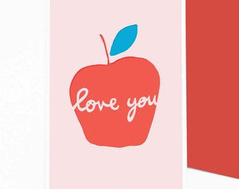 Apple Love You - greetings / valentine card