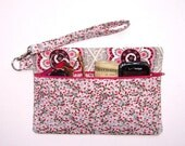 Small Zippered Wristlet Purse, Grey Pink Makeup Bag, Cream Maroon IPhone Smartphone Case, Small Zippered Clutch in Flower Print, Gadget Bag