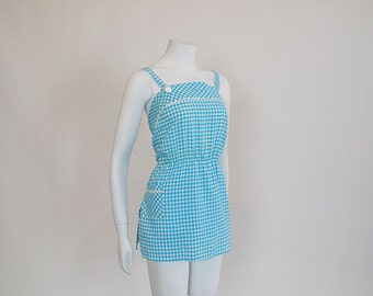 1960s Jumper /  Gingham Style! Vintage 60's Dress / Jumpsuit With Built In Bloomers