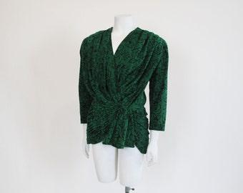1980s jacket / Forrest Fairy Vintage 80s Green Floral Suede Leather Jacket