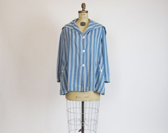 1930s jacket / Pin Stripe A Line Vintage 30's Blue Coat Jacket