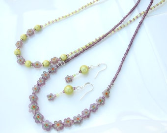 Layered SET - Lime Miracle Bead & Millefiori Simple TWO Necklaces and Earrings