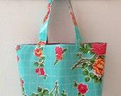 Beth's Medium Aqua Vintage Rose Oilcloth Market Tote Bag