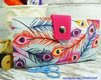 Handmade Long Wallet  BiFold Clutch Vegan Wallet - Feather Sky Wallet or half size unisex wallet