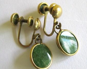 1960s Vintage Jade Dangling Earrings in Gold Setting - Screw Back Post Earrings