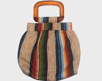 1970s purse / vintage 70s southwest purse / Southwestern Stripe Purse