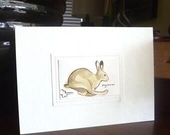 Hare original watercolor illustration, animal art, home decor, small art