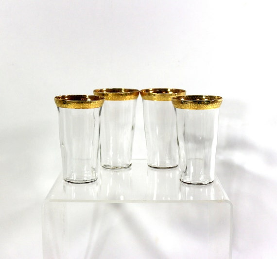 1920s Set Of Gold Drinking Glasses Fine Dining Home By Nachokitty