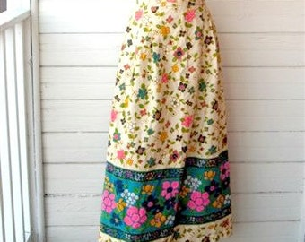 Vintage 1960s Barkcloth Floral Maxi Skirt
