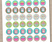 """Laundry Planner Stickers Instant Download Printable Chore Stickers PDF 1"""" Circle Stickers for Calenders Planners & Home Organization"""