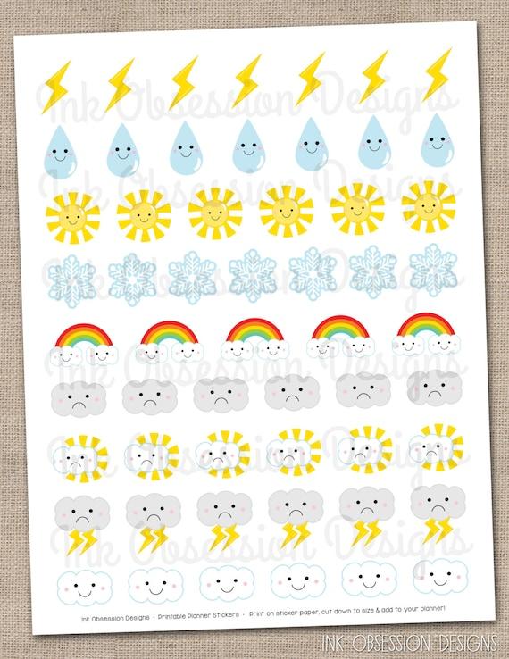 Weather Planner Stickers Instant Download DIY Sticker Set ...