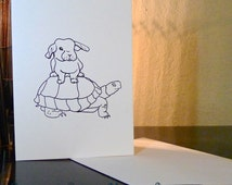 """Original blank greeting card """"Further Together"""" bunny with turtle image from """"Pets are Family!"""" coloring book"""