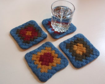 Felted Coaster Granny Square Design Green  Red Gold and Blue