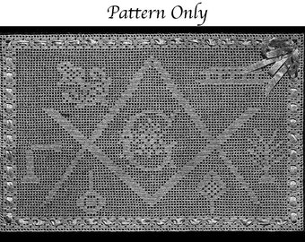 1918 Masonic Filet Crochet Pattern, Charted Design