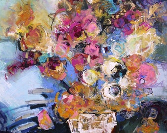 """Large FLORAL ABSTRACT PAINTING Original """"Pompon"""" Mixed Media on 300lb watercolor paper by Contemporary Artist Elizabeth Chapman"""