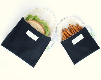 Eco Friendly Sandwich and Snack Bags, Set of 2 - Organic Cotton, Reusable - Black --- Back to School