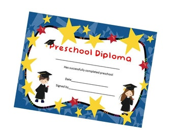 Preschool Pre K Graduation Kids Diploma Child Certificate Award DIY Boy and Girl Instant Download Printable PDF