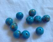 Small Blue Millefiori Vintage Ceramic Porcelain Round Vintage Japanese Beads