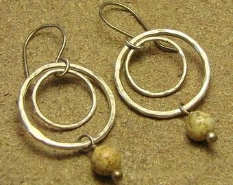 Picture Jasper Double Round Hoop Sterling Silver Dangle Earrings