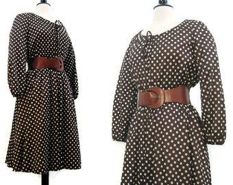 Vintage 70s Dress Polkadot Peasant Boho Prairie Full Skirt Day Dress S M