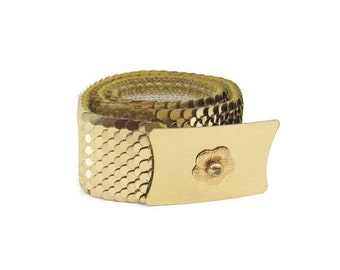 70s 80s Belt Vintage Disco Gold  Metal scale Wide Elastic Cinch Belt S M L