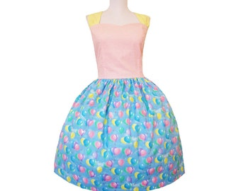 Sale Up Up and Away Dress in Sweet pinks with retro twist and neck straps sleeveless summer cotton fun