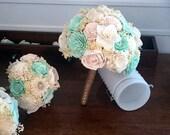 Mint  Wedding Bouquet -sola flowers - Customize colors -  Alternative bridal bouquet - bridesmaids - rustic - natural