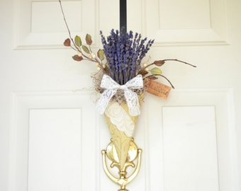 French Lavender Wall Pocket  - door wreath  - Spring Summer home decor - Wall Decor