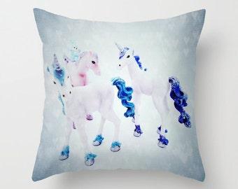 Unicorns Throw Pillow, Fairy tale Pillow, 16x16, 18x18, 20x20,Outdoor,Patio Decorative Pillow, Horses Cushion, Nursery Pillow, Whimsy Pillow