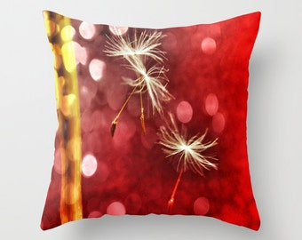 Red Throw Pillow, Dandelion, Make a Whish Decorative Pillow, Nature Cushion, Wedding Gift, Dandy Pillow, Holiday, Surreal, Dorm, Office