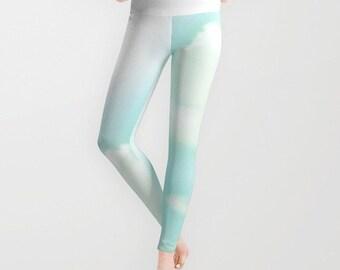 Ocean Blue Sky Leggings, Aqua Blue Yoga Pants, Cloud Leggings, Light Blue Yoga Leggings, Women, Teen Active Wear, Running Pants, Jogging