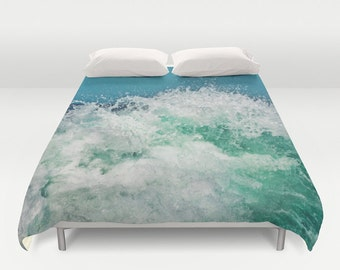 Ocean Duvet Cover, Waves Decorative bedding, unique design, Nautical comforter cover, Aqua Blue bedroom, Beach, Surf,Water,Ocean Blue,Marina