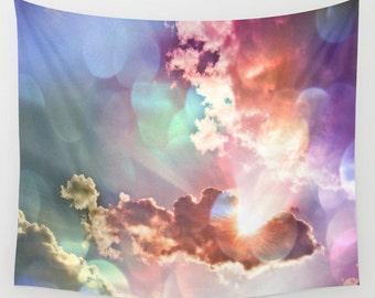 Rainbow Sky Wall Tapestry, Cloud Large Size Wall Art, Modern Decor, Nature, Wedding Gift, Outdoor, Garden, Happy, Bokeh Tapestry, Dorm Art