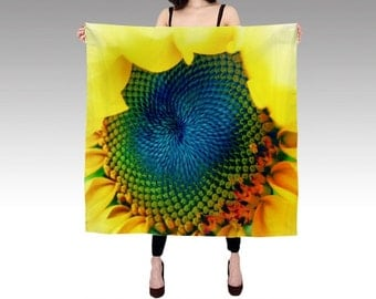 Printed Scarf, Solar Energy Silk Scarf, Sunflower Scarf, Wearable Art, Fashion, Accessories, Yellow Silk Shawl, Women, Vibrant,Square Scarf