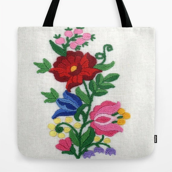 Tote Bag, Kalocsa Motif, Hungarian Embroidery Print, Beach Tote, Shopping Tote, Office Bag, Shoulder Bag, Market Tote, Wearable Art, Flower