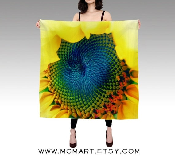 Printed Scarf, Solar Energy Silk Scarf, Sunflower Scarf, Wearable Art, Fashion, Accessories, Yellow Silk Shawl, Women, Vibrant,Square Scarf