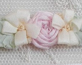 4pc Vintage Chic Pastel Pink Cream Silk Ribbon Embroidered Daisy Spider Rose Flower Applique Christening Gown Baby Doll Hair Bow