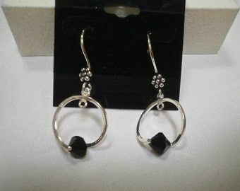 Jet Black Swarovski and Silver Earrings