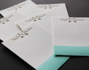 MINT+GOLD: Couples Custom Dip Dye Letterpress A2 Flat Note Cards + Blank Matching Envelopes, qty 50