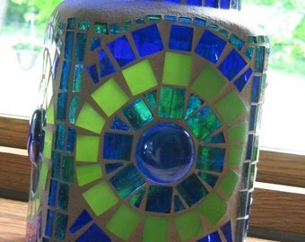 Stained Glass Mosaic Canister Jar-Decorative Canister-Stained Glass Art-Mosaic Art-Home Decor-Vase-Candle Holder-Blue-Green-Storage Jar