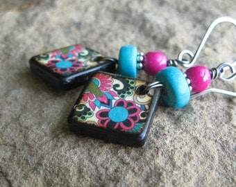 Pink and Blue Decoupage Wood Tile Earrings