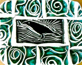 Raven Dish - Rustic Tribal Aqua Turquoise & Black Bird Crow Linocut Stamped Small Pottery Tray - Ring, Jewelry, Trinket Holder, Soap Bowl