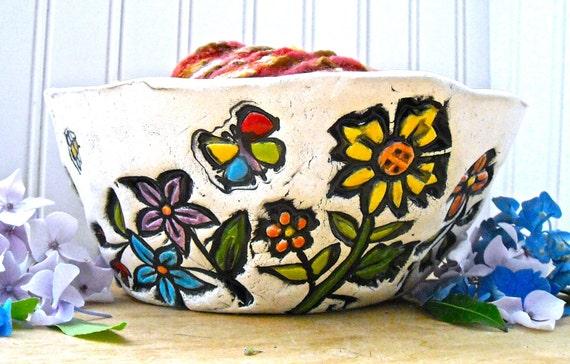 Happy Flower Garden Yarn Bowl - HandMade Whimsical Rustic Stamped Blue Bird of Happiness Knitting Organizer, Crochet Holder - Knitter Gift